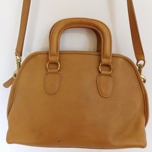VINTAGE COACH BAXTER TAN LEATHER DOME SATCHEL